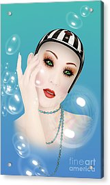Soap Bubble Woman  Acrylic Print by Mark Ashkenazi