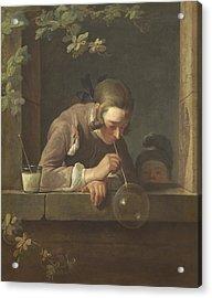 Soap Bubbles Acrylic Print by Jean Baptiste Simeon Chardin