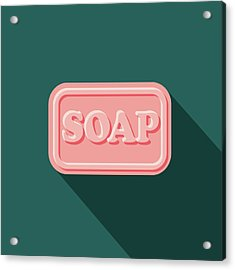 Soap Flat Design Cleaning Icon With Acrylic Print