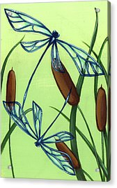 Soaring Through The Cat Tails Acrylic Print by Elaina  Wagner