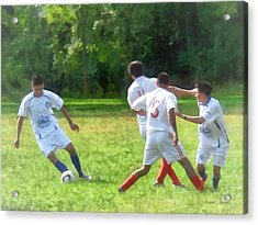 Soccer Ball In Play Acrylic Print by Susan Savad