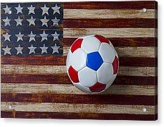 Soccer Ball On American Flag Acrylic Print by Garry Gay
