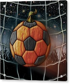 Soccer Ball Pumpkin Acrylic Print by James Larkin