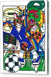 Soccer Cat Acrylic Print by Artists With Autism Inc
