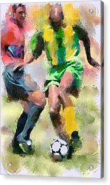 Soccer Fight Acrylic Print by Yury Malkov