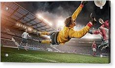 Soccer Goalie In Mid Air Save Acrylic Print by Peepo