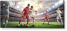 Soccer Player Tackling Ball In Stadium Acrylic Print by Dmytro Aksonov