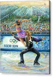 Sochi 2014 - Ice Dancing Acrylic Print by Bernadette Krupa