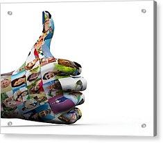 Social Media People Painted Hand In Ok Sign Acrylic Print by Michal Bednarek