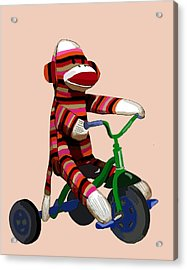 Sock Monkey And Tricycle Acrylic Print by Kelly McLaughlan