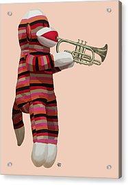 Sock Monkey And Trumpet Acrylic Print by Kelly McLaughlan
