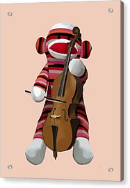 Sock Monkey With Cello Acrylic Print by Kelly McLaughlan
