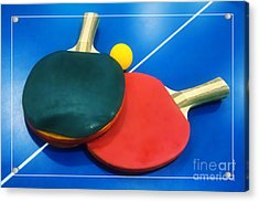 Soft Dreamy Ping-pong Bats Table Tennis Paddles Rackets On Blue Acrylic Print