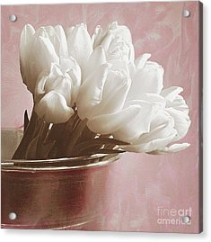 Soft Pink And White Acrylic Print