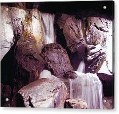 Soft Waterfall On Rocks Acrylic Print by Barb Baker