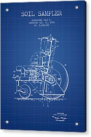 Soil Sampler Machine Patent From 1965 - Blueprint Acrylic Print by Aged Pixel