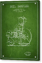 Soil Sampler Machine Patent From 1965 - Green Acrylic Print by Aged Pixel