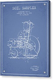 Soil Sampler Machine Patent From 1965 - Light Blue Acrylic Print by Aged Pixel