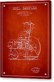 Soil Sampler Machine Patent From 1965 - Red Acrylic Print by Aged Pixel