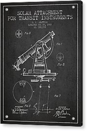 Solar Attachement For Transit Instruments Patent From 1902 - Cha Acrylic Print by Aged Pixel