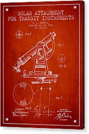 Solar Attachement For Transit Instruments Patent From 1902 - Red Acrylic Print by Aged Pixel