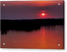 Solar Eclipse Sunset Acrylic Print by Jason Politte