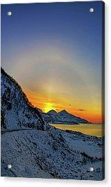 Solar Halo And Sun Pillar At Sunset Acrylic Print by Babak Tafreshi