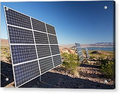 Solar Panels Next To A Church Acrylic Print by Ashley Cooper