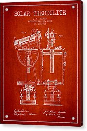 Solar Theodolite Patent From 1883 - Red Acrylic Print by Aged Pixel