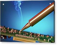 Soldering An Circuit Board Acrylic Print