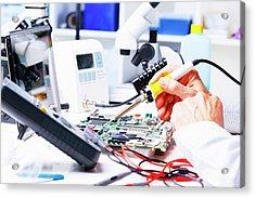 Soldering Equipment And Circuit Board Acrylic Print by Wladimir Bulgar