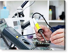 Soldering Equipment And Electronic Parts Acrylic Print by Wladimir Bulgar