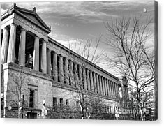 Soldier Field In Black And White Acrylic Print