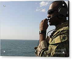 Soldier Instructs Small Boat Maneuvers Acrylic Print by Stocktrek Images