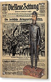 Soldier On Newspaper Collage Acrylic Print
