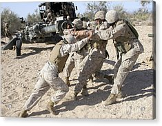 Soldiers Move The Muzzle-end Of A M777 Acrylic Print by Stocktrek Images