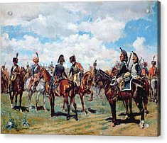 Soldiers On Horseback Acrylic Print by Jean-Louis Ernest Meissonier