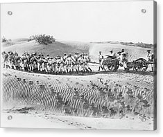 Soldiers Pulling Field Guns Acrylic Print by Library Of Congress