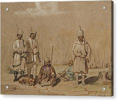 Soldiers Relaxing, 1844 Wc & Gouache On Paper Acrylic Print by Georges de Bellio
