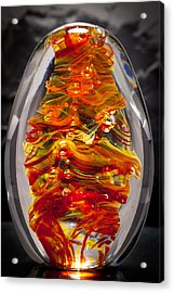 Flames -  Solid Glass Sculpture 13e5 Acrylic Print by David Patterson