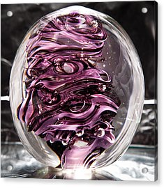 Solid Glass Sculpture Rp5 - Purple And White Acrylic Print by David Patterson
