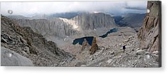 Acrylic Print featuring the photograph Solitary Hiker Panorama by Alan Socolik