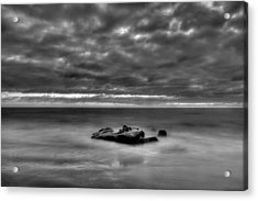 Solitary Rock - Black And White Acrylic Print by Peter Tellone