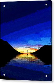 Solitary Sailboat Sunrise Acrylic Print by Anne Mott