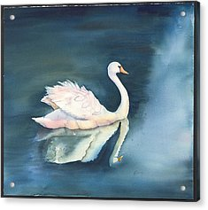 Solitary Swan Acrylic Print by Bonny Lundy
