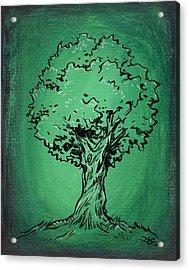 Solitary Tree In Green Acrylic Print by John Ashton Golden