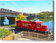 Solo Red Canadian Pacific Engine Along Rock River In Rockford Acrylic Print by Jeff at JSJ Photography