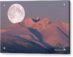 Solstice Sunrise Alpenglow Full Moon Setting Acrylic Print