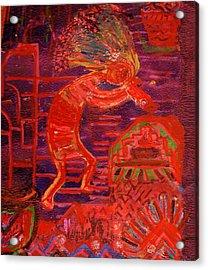 Some Like Kokopelli Hot Acrylic Print by Anne-Elizabeth Whiteway