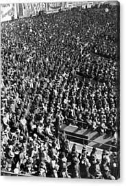 Baseball Fans At Yankee Stadium In New York   Acrylic Print by Underwood Archives